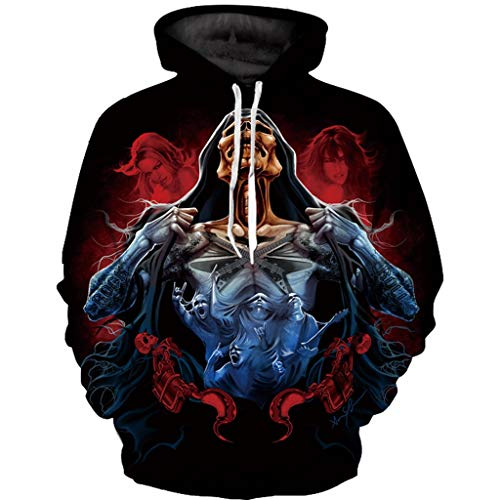 Price comparison product image Transser Unisex Halloween Party Dress Scary 3D Printed Long Sleeve Hooded Fashion Drawstring Hoodies Sweatshirt for Women Men