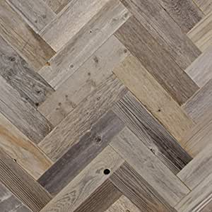 Amazon Com Diy Reclaimed Barn Wood Wall Herringbone