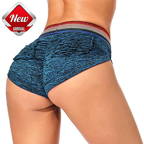 (YOFIT Women's Ruching Detail High Waist Workout Running Yoga Shorts Athletic Sports with Pockets Blue XL)