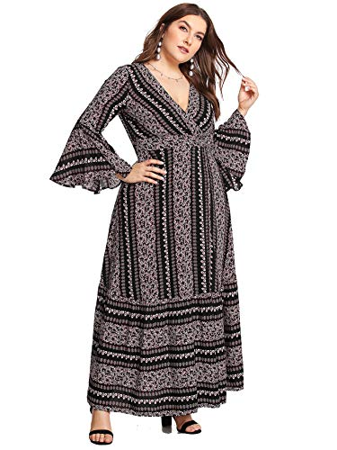 (Milumia Women Plus Size Maxi Prom Cocktail Wrap V Neck Tribal Dress Black)