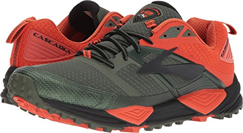 Brooks Men's Cascadia 12 Green/Orange/Black 8.5 D - Brooks Shoes Trail