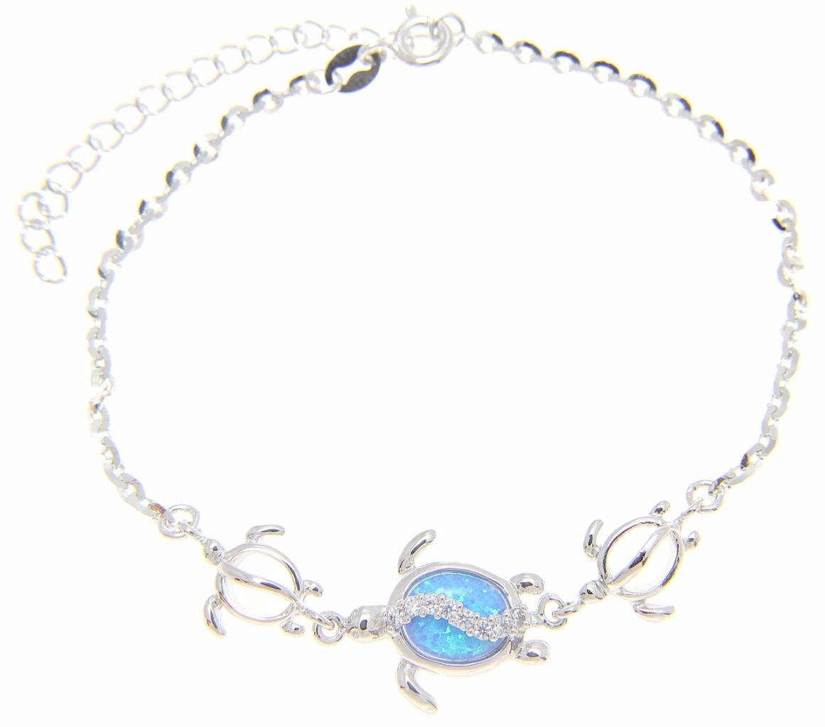 925 sterling silver Hawaiian honu sea turtle cz blue synthetic opal link chain anklet 9''+