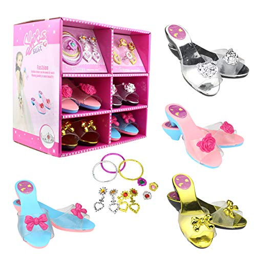 Princess Dress Up Set 4 Pairs of Shoes + Fashion Jewelry Accessories Little Girl Role Play Fashion Beauty Gift Set for Girls Ages 3-10 (4 Pairs Slippers and Jewelry Set)