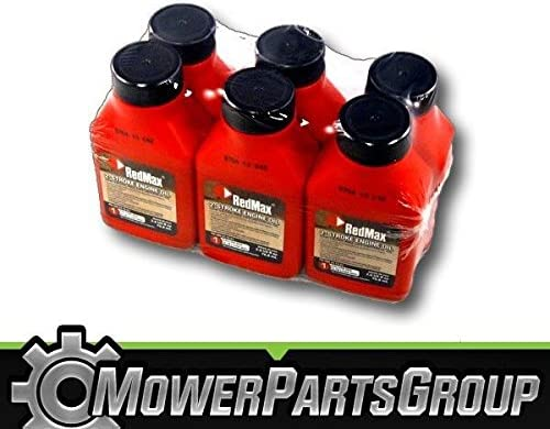 MowerPartsGroup 6 Pack 2.6oz Bottles RedMax Synthetic 2 Stroke Oil w/Fuel Stabilizer