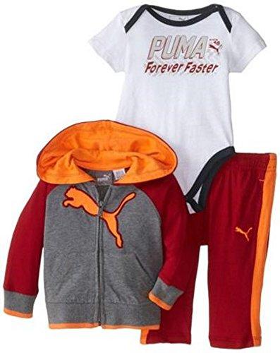 PUMA Baby Boys' Faster 3 Piece Hoodie Set, Asphalt Heather, 18 Months ()