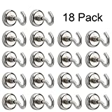CJRSLRB Magnetic Hooks - 12LB Heavy Duty Multi Use Indoor/Outdoor Hanging Mighty Magnetic Hooks D16(18Packs)