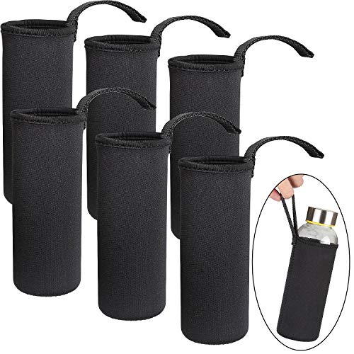 Water Bottle Koozies - STARVAST Neoprene Water Bottle Insulator Cooler Coolies Sleeves, Collapsible Nylon Bottle Sleeve Carrier for 12-19.4 oz Bottles or Cans (6pcs,Black)