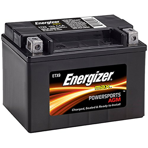 Energizer ETX9 AGM Motorcycle and ATV 12V Battery, 120 Cold Cranking Amps and 8 Ahr.  Replaces: YTX9-BS and others