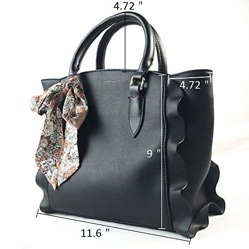 Tote Large PU Black Bag Handbag Leather Fochier Purse Handle Women Fashionable zAfq0