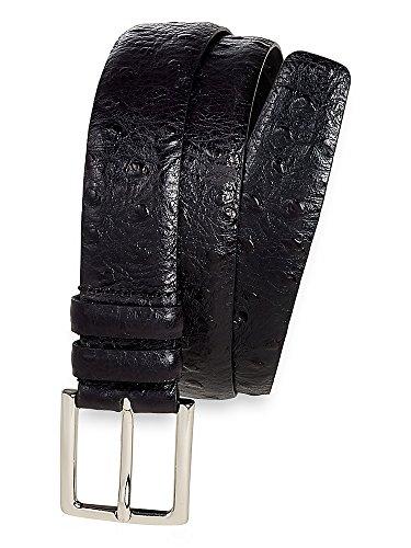 Ostrich Embossed Belt (Paul Fredrick Men's Italian Leather Embossed Ostrich Belt Black)
