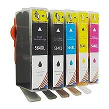 Toner Kingdom 5Pack Compatible HP 564XL Ink Cartridges for HP Photosmart 5520 6520 6510 7510 7520 7515 C6380 C310a 5514 5515 5510 6515 6512 (1BX 1PB 1C 1M 1Y)