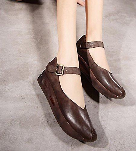 Hebilla Retro Salvaje Zapatos Hechos A Mano Con Fondo Confortables Pesada Khaki