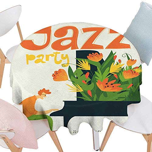 (longbuyer Dinning Tabletop Decoration Jazz Festival Vector Poster with Piano Musician Round Tablecloth D)