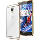 Wow Imagine & trade Premium Transparent 0.3mm (Flexible TPU Silicon with Electroplated Edges/Soft Corner Full Protection Back Case Cover For One Plus 1+3 OnePlus 3 , Soft Gold