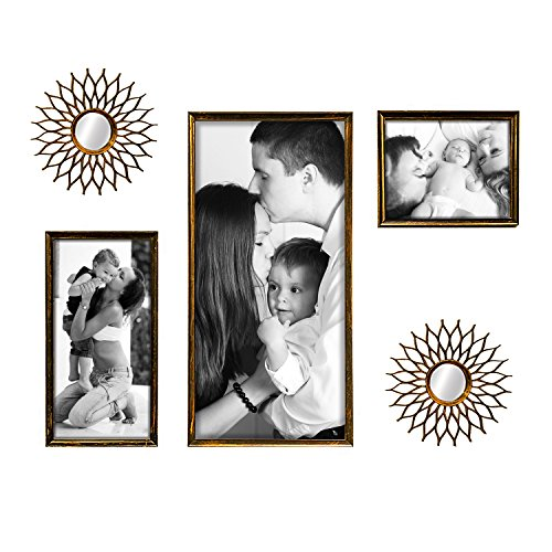 Jerry & Maggie - Photo Frame | Mirror - Wall Hanging Decor - Black & Gold PVC Picture Frame Selfie Gallery Collage - 3 of 12x25 | 8x16 | 8x10 Photos & 2 of R10 Sun Round Mirror - Wall Mounting Design