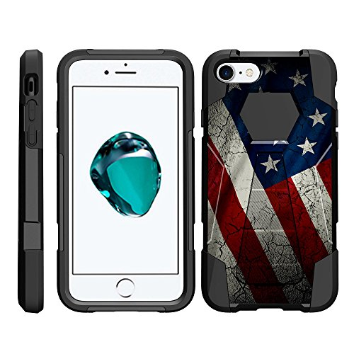 TurtleArmor | Compatible with Apple iPhone 6 Case | iPhone 6s Case [Dynamic Shell] Hybrid Dual Layer Hard Shell Cover Kickstand Silicone Case - American Flag (Iphone 6 Skins American Flag)