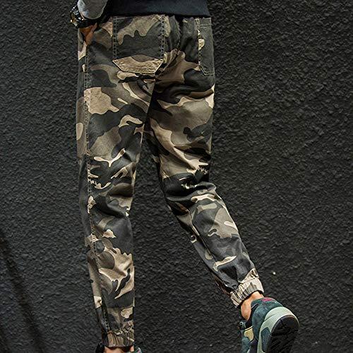 Tissés Pantalon Rayé À Élastique Camouflage D'entraînement Hommes Petits Pieds Kaki Amuster Slim Séchage Avec qS4Agxw