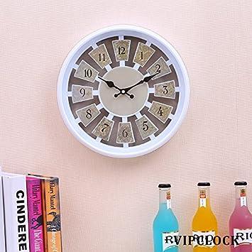 12 pulgadas Vintage rústico País estilo números arábigos reloj de pared redondo decorativo, silencioso no Tic Tac pared relojes grandes decorativo - Atomic ...