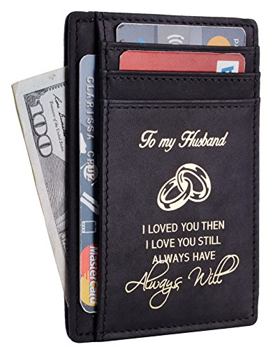 NapaWalli Wife To Husband Gift Best Anniversary Birthday Gifts For Him Genuine Leather RFID Blocking slim Wallet Card Holder (Hunter Black W/ Golden Logo)