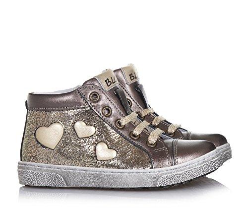 BALOCCHI - Zapato dorado de cordones de cuero y tejido glitter, con cierre de cremallera lateral, Niña, Niñas
