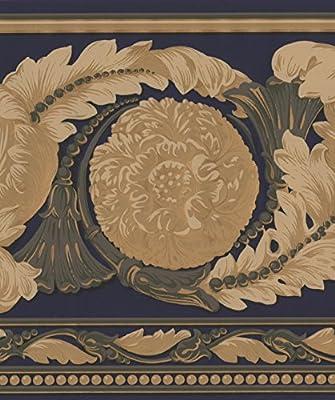 Amazon Com Beautiful Gold On Navy Blue Modern Damask Wide Wallpaper Border Retro Design Roll 15 X 9 Home Kitchen