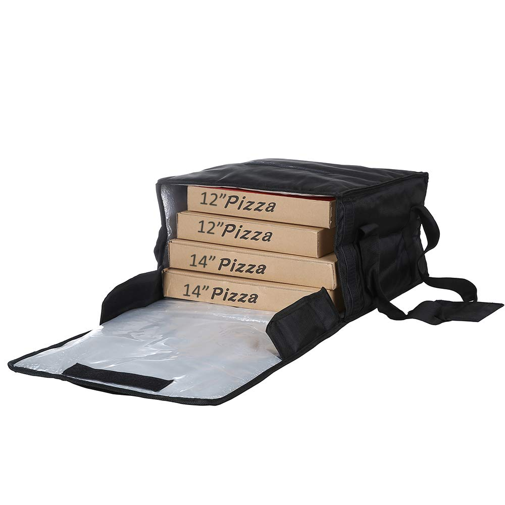 "Polyester Insulated Pizza/Food Delivery Bag Professional Pizza Delivery Bag 16""×16""×8"" for Four 14"" Pizza Boxes(Black)"