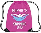 Edward Sinclair Personalised Girl Swimming Kit Bag With Your Name - Girl Gym/Pe/Drawsting Bag With A & Print 12 Litres Bubblegum Pink