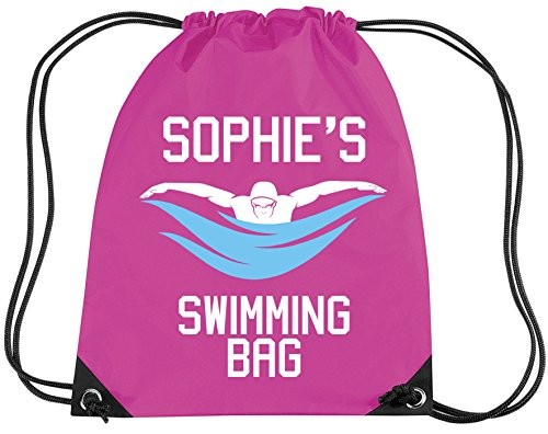 Edward Sinclair Personalised Girl Swimming Kit Bag With Your Name - Girl Gym/Pe/Drawsting Bag With A & Print 12 Litres Bubblegum Pink by Edward Sinclair