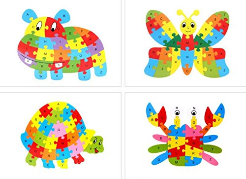 Fishinnen Colorful Wooden Animal Number and Alphabet Jigsaw Puzzle Educational Toy for Kids(Tortoise) by Fishinnen (Image #3)