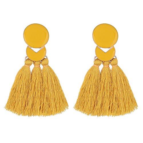 D EXCEED Statement Thread Tassel Earrings Fashion Chandelier Tassel Earrings Epoxy Fringe Earrings for Women Yellow