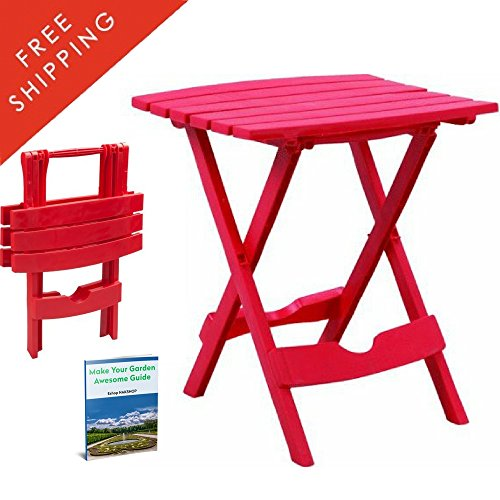 Collapsible Coffee Table Portable Foldable Patio Table Plastic Red Small Mini Picnic Nice Cheap Outdoor Backyard Garder Camping Simple Design Breakfast Side Table Pool Standing And eBook By NAKSHOP (Cheap Patio Tables)