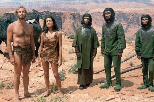 Charlton Heston, Roddy McDowall, Kim Hunter, Linda Harrison and Lou Wagner in Planet of the Apes 24x36 Poster by...