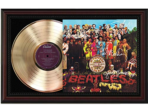 (Beatles - SGT Peppers Lonely Hearts Club Band Cherrywood Framed Gold Lp Reproduction Signature Display Lennon McCartney M4)