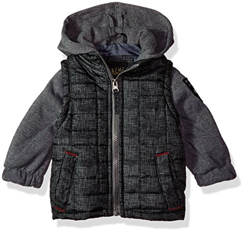 - iXtreme Baby Boys Infant Tonal Print Vest W/Fleece Hood &Sleeve, Black, 12M