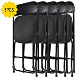 LAZYMOON 5-Pack Black Plastic Folding Chair Outdoor Patio Garden Wedding Party Event Furniture Chairs For Sale