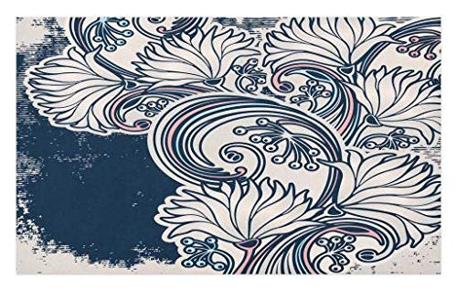Lunarable Antique Doormat, Traditional Chrysanthemum Silhouettes on a Grunge Background Floral Arrangement, Decorative Polyester Floor Mat with Non-Skid Backing, 30 W X 18 L inches, Multicolor by Lunarable