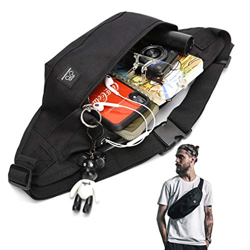 Fanny Packs for Women & Men Unisex Waist Bag Pack with Headphone Jack and Zipper Adjustable Strap Black Fanny Pack for Outdoors Sport Workout Traveling Casual Running Hiking Cycling Gym