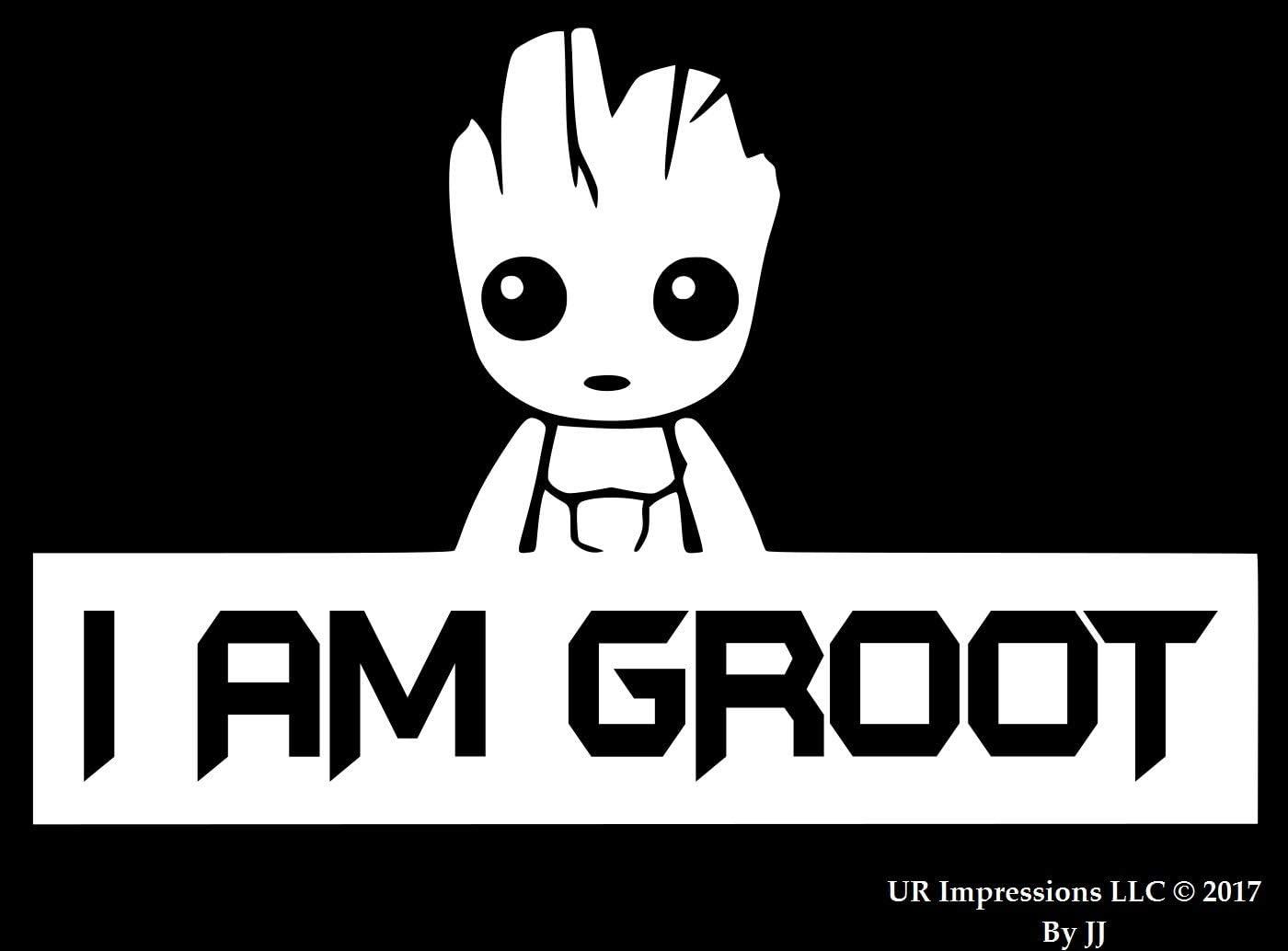 UR Impressions I Am Groot Decal Vinyl Sticker Graphics for Cars Trucks SUV Vans Walls Windows Laptop Tablet|White|7.5 X 5 inch|JJURI080