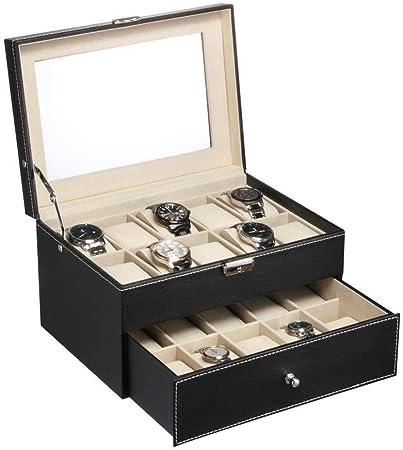 GOVD Caja Relojes Hombre PU Cuero Estuche relojero con Almohadillas Extraíbles para Relojes 20: Amazon.es: Hogar