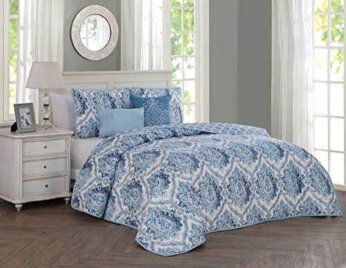 Avondale Manor Notting Hill 5-Piece Quilt Set Queen, Blue Comfort Notting Hill
