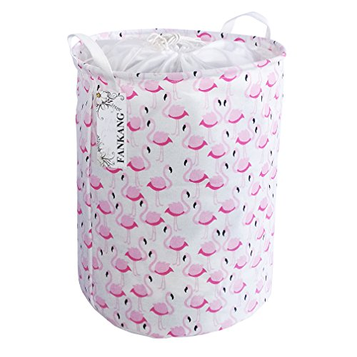 FANKANG Laundry Basket Drawstring Waterproof Round Cotton Linen Collapsible Storage Basket(Pink Flamingo)