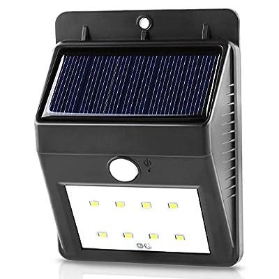 Outdoor Solar Lights, Waterproof Solar Powered Wall Lights Motion Sensor, Wireless Security 8 Led Solar Garden Lighting for Patio