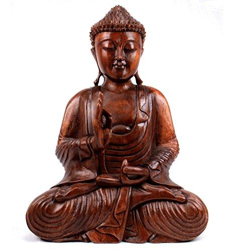 Artisanal Statua di Buddha seduto in legno massello scolpito a mano 30 cm