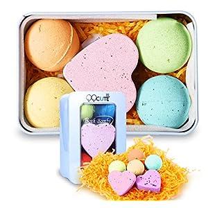 QQCute Bath Bomb Gift Set, All Natural Essential Oil Lush Spa Fizzies for Dry Skin,Best Gift for Women, Teen Girls, Birthdays, Add to Bath Bubbles, Basket, Bath Beads, Bath Pearls