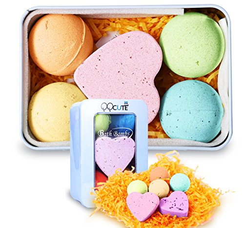 QQCute Bath Bomb Gift Set, All Natural Essential Oil Lush Spa Fizzies for Dry Skin,Best Gift for Women, Teen Girls, Birthdays, Add to Bath Bubbles, Basket, Bath Beads, Bath - Yellow Tone Skin Based