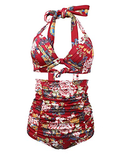 Tempt Me Women Vintage Floral Print High Waist Ruched Deep V Bikini Sets Red XL