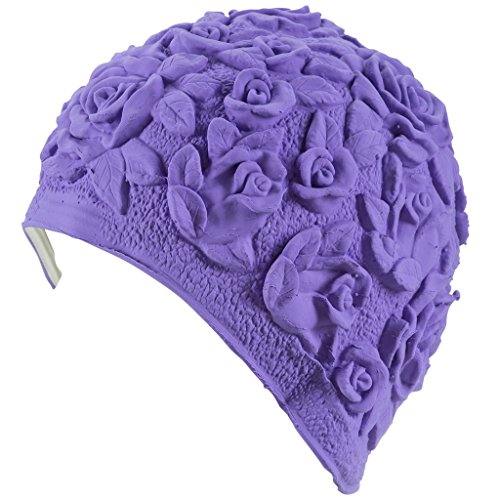 Silicone Swim Cap - Women Stylish Swimming Cap Great For Ladies, Perfect To Keep Hair Dry - Suitable For Long Hair - Embossed Flower - Lilac