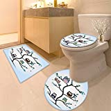 3 Piece Toilet Cover Set Owls Home Throw Owl Family Perched on a Tree Love GraceNocturnal Eyed Night Animals in The Nature Pattern