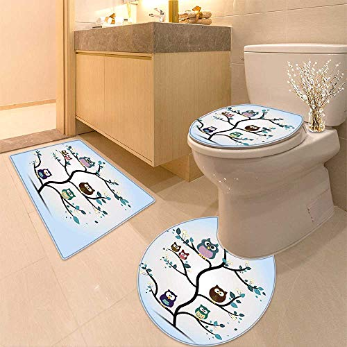 3 Piece Toilet Cover Set Owls Home Throw Owl Family Perched on a Tree Love GraceNocturnal Eyed Night Animals in The Nature Pattern by HuaWuhome