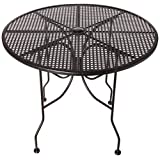 "Oak Street Manufacturing OD36R Round Black Mesh Top Outdoor Table, 36"" Diameter"